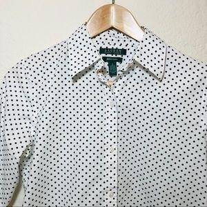 Ralph Lauren Black and White Polka Dot Shirt